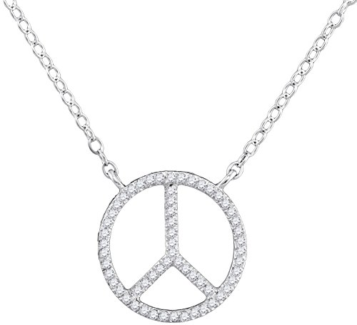 Brilliant Bijou 10kt White Gold Womens Round Diamond Peace Sign Circle Pendant Necklace 1/6 Cttw