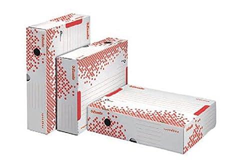 Esselte Scatola Archivio per Documenti a Lungo Termine, A4, Confezione da 25, Priva di Acidi, Dorso da 80 Mm, Bianco, Speedbox 80, 623985