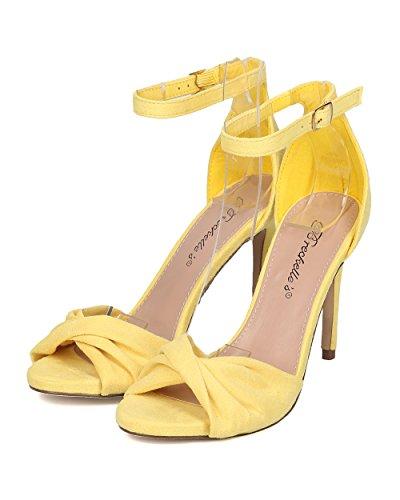 Breckelles Kvinner Veganer Stilett Sandal - Peep Toe Heel - Ankel Strap Stiletto Hæl - Bryllup, Formell, Skoleball, Dans, Fest - Gi68 Av Gule Faux Suede