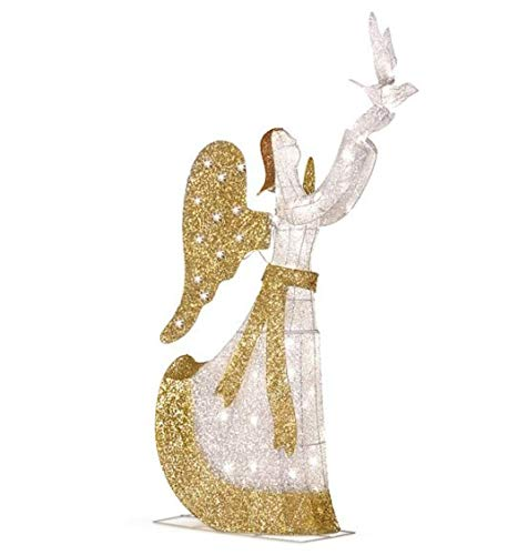 Outdoor Lighted Christmas Angel With Dove in US - 3