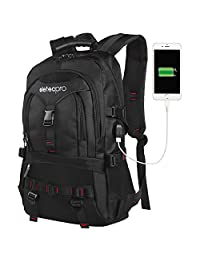 """EletecPro Travel Laptop Backpack with USB Charger Port 17.3"""" Durable Anti-Theft School Computer Bag for Man Business Work Hiking Bag with Multi-Function Pockets"""