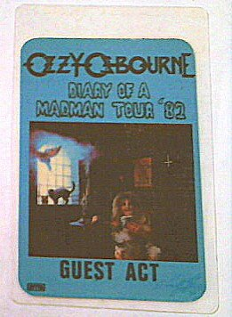 1982 Ozzy Osbourne Randy Rhoads Backstage Pass Guest Act Diary of a Madman Tour