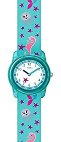 Timex Youth TW7C13700 Kid's Elastic Mermaid Imprint Fabric Band Time Teacher Watch