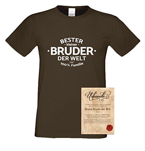 Bruder Geschenkeset Fun-T-shirt zu Weihnachten oder zum Geburtstag mit GRATIS Urkunde - Bester kleiner Bruder der Welt Farbe: braun Gr: L