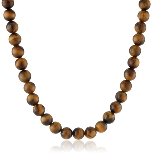 Men's Sterling Silver Tigers Eye 8mm Round Bead Necklace, - Round Gemstone Necklace Beads