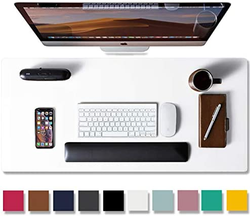 """Leather Desk Pad Protector,Mouse Pad,Office Desk Mat, Non-Slip PU Leather Desk Blotter,Laptop Desk Pad,Waterproof Desk Writing Pad for Office and Home (White,31.5"""" x 15.7"""")"""