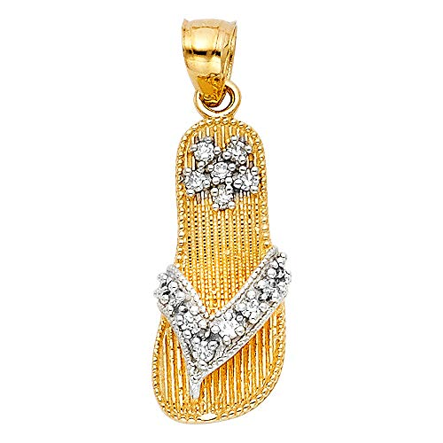 Wellingsale 14K Two 2 Tone Gold Polished Milgrain Sandal Pendant with CZ Accents