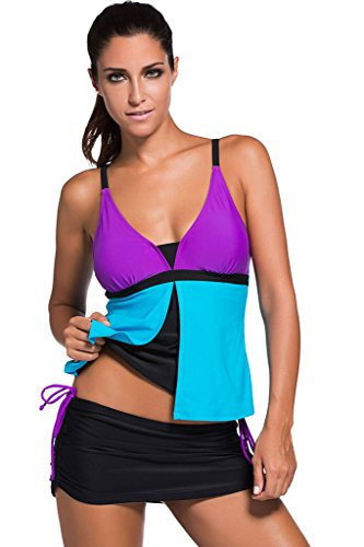 Chase Secret Womens Push Up Boyshort Tankini With Panty Two Pieces Swimsuit Set (XL, Purple Blue)