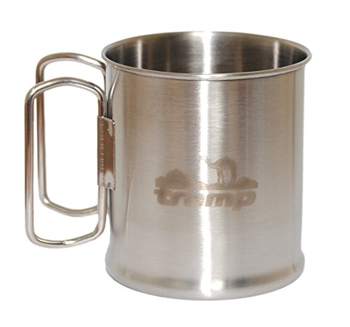 Great Gift! Stainless Steel Travel mug with folding handles for Outdoors,Camping Cup,coffee,backpacking,Drinking,twin,Hardware enamel,Collapsible,silver,little,Portable,Utensil,Glacier 300 ml(10.15oz)