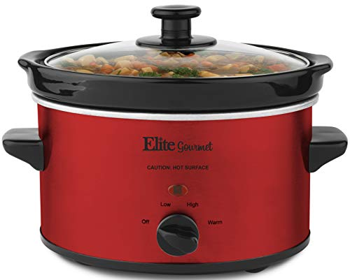 Elite Gourmet MST-275XR Electric Slow Cooker, Adjustable Temp, Entrees, Sauces, Stews and Dips, Dishwasher-Safe Glass Lid &Ceraic Pot, 2Qt Capacity, Metallic Red