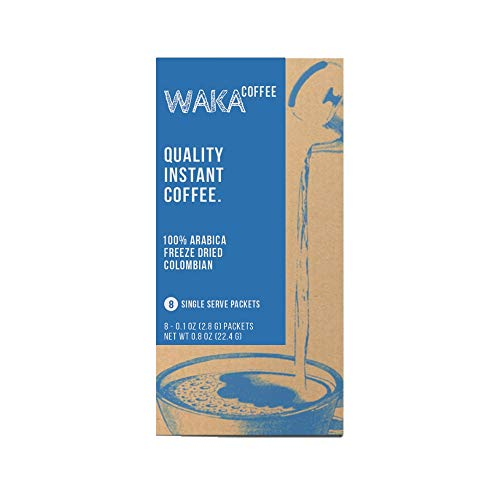 Waka Coffee Quality Instant Coffee, Colombian, Medium Roast | 100% Arabica, Freeze Dried, 8 Eco-Friendly Packets | Add Water, Give Water
