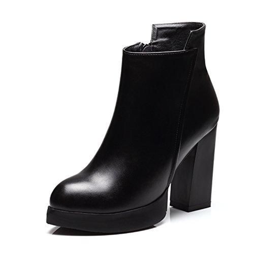 khskx-winter botas zapatos verano nueva primavera marea tacones altos all-match Rough botas mujeres estilo británico con Martin negro