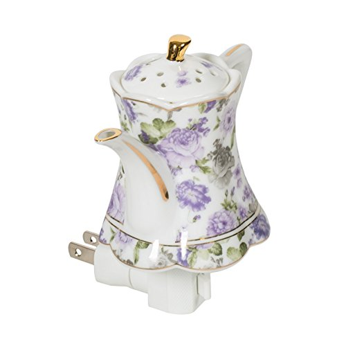 (Floral Mini Teapot 5 x 5 Porcelain Wall Plug-In Night Light)