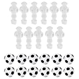 """Dovewill 11 Pieces White Standard 5/8"""" Foosball Men Player + 12Piece 36mm Table Soccer Balls Black and White"""