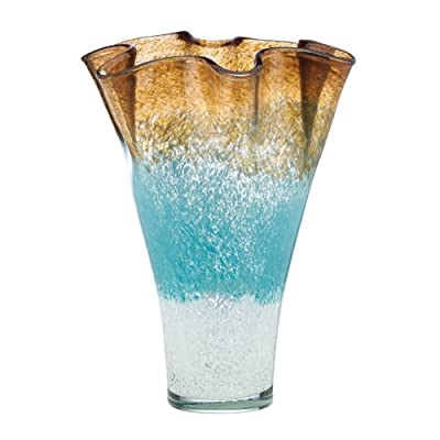 Lenox Organics Centerpiece Ruffle Vase, Ombre - Crafted of non-lead crystal Hand washing is recommended A great gift for any occasion - vases, kitchen-dining-room-decor, kitchen-dining-room - 41YKrdiqk2L. SS400  -
