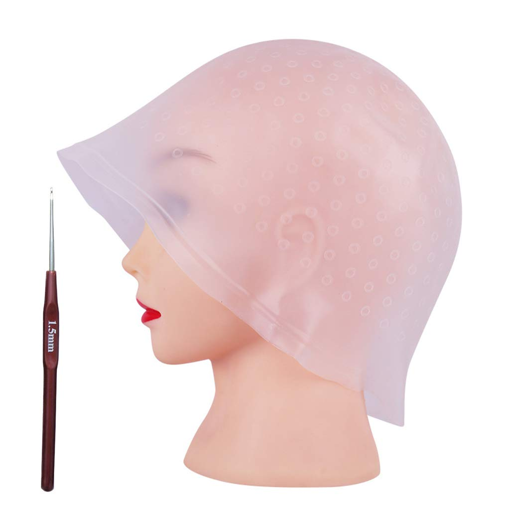 Highlight Caps with Coloring Hair Hook 2 Packs, Frosting Coloring Cap, Professional Salon Silicone Hairdressing Tools : Beauty