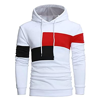 kaifongfu Men Long Sleeve Tops, Outwear Hoodie Stitching Color Coat Jacket Sport Tops