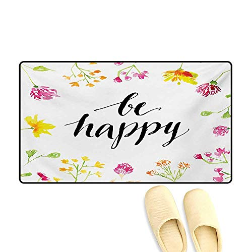 Bath Mat,Positive Vibes Spring Revival Floral Be Happy Phrase Framed by Colorful Wild Flowers,Doormat Outside,Multicolor,20