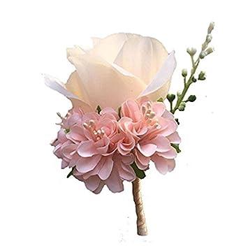 WeddingBobDIY Boutonniere Buttonholes Groom Groomsman Best Man Rose Wedding Flowers Accessories Prom Suit Decoration 4,Champagne