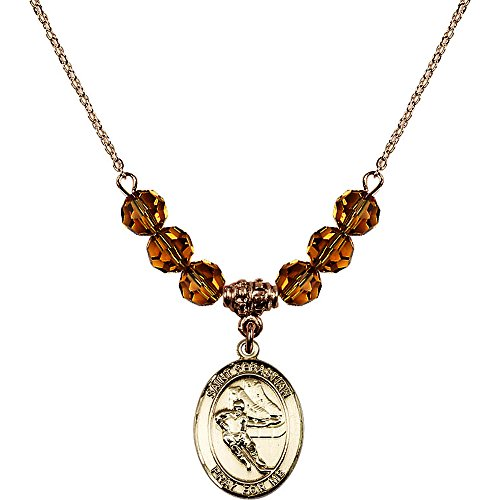 18-Inch Hamilton Gold Plated Necklace with 6mm Yellow November Birth Month Stone Beads and Saint Sebastian / Hockey ()