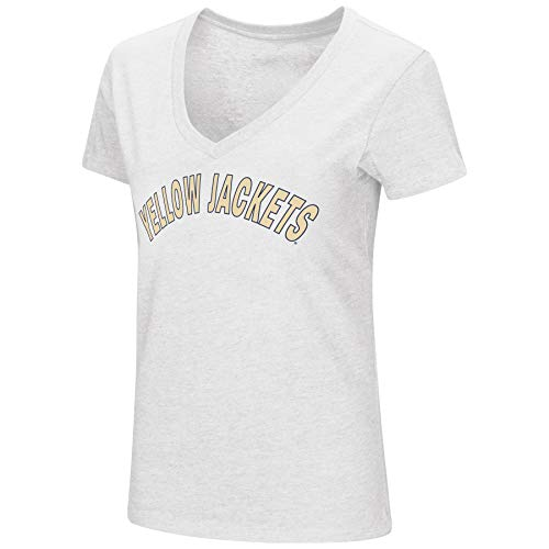 (Colosseum Womens NCAA-Valuable Commodity-Dual Blend V-Neck Slim Fit T-Shirt-Georgia Tech Yellow Jackets-White-Medium)
