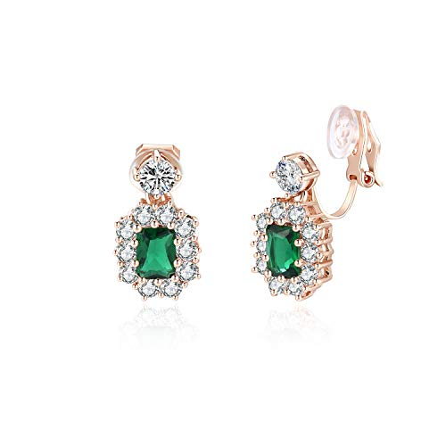 FANCIME Rose Gold Plated Cushion Cut Created Green Emerald Clip On Dangle Earrings With Cubic Zirconia CZ for Women Girls, Hypoallergenic Fashion Jewelry with Gift Box for Mother's Day, Height:2 cm