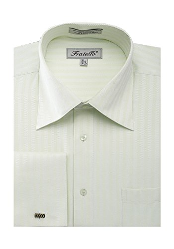Green Herringbone Dress Shirt - Sunrise Outlet Men's Herringbone French Cuff Shirt - Sage 15.5 33-34