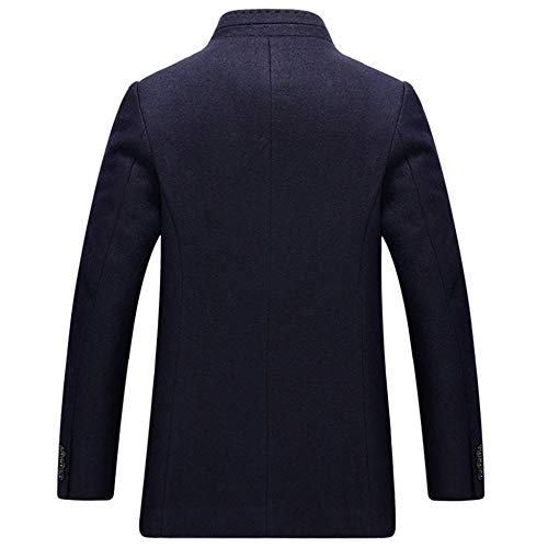 Large Collar Casual Dad Size Fleece Gift Windbreaker Coat Gentleman Yra L Fit Thicken Outerwear 6XL For Slim Mens Stand Blue Business Woolen qTApwzF