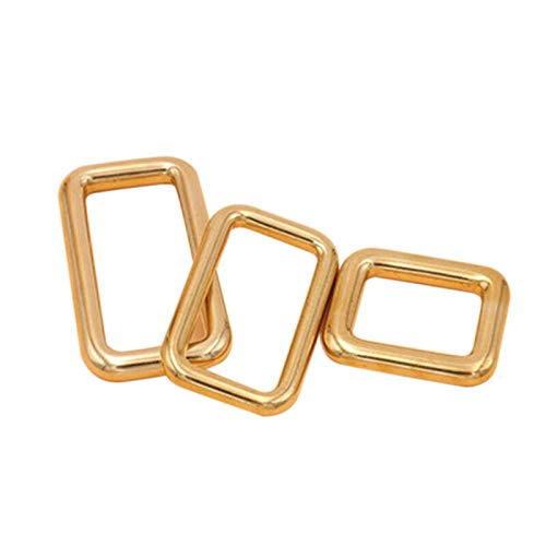 DIY Buckle Square Ring Brass Metal Gold Strap Loop Webbing Bag Belt Shoe Keeper (Size - 1620mm)
