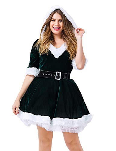 Colorful House Women's Sexy Mrs. Claus Costume, V Neck Dresses With Hats(Green,Medium)