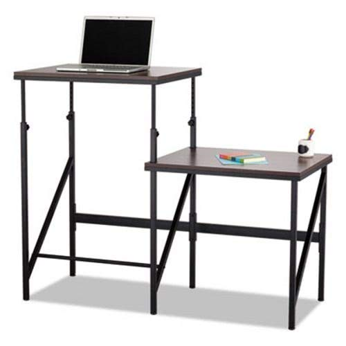 Safco Bi-Level Standing Height Desk, 57 1/2W X 24D X 50H, Walnut/Black