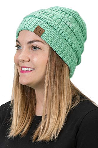 (H-6020a-62 Funky Junque Solid Ribbed Beanie -)
