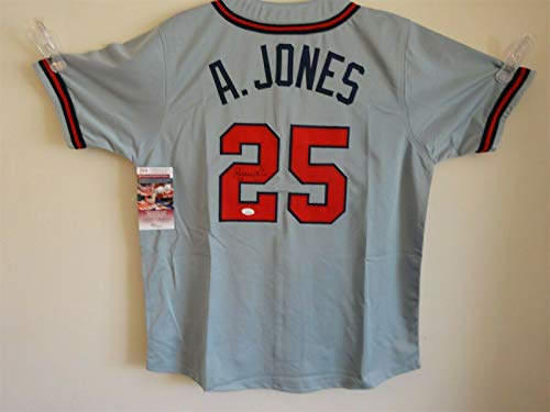 ANDRUW JONES SIGNED AUTO ATLANTA BRAVES GREY JERSEY JSA AUTOGRAPHED