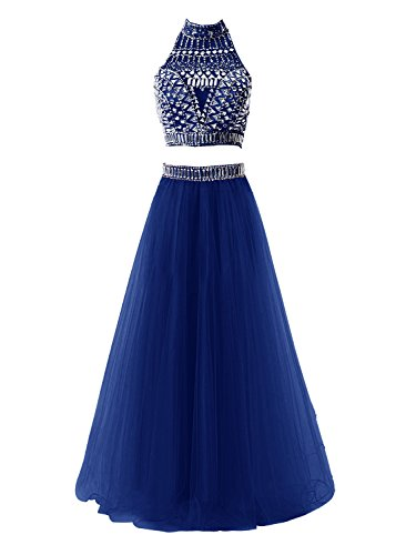 Tideclothes Two Pieces Long Prom Dress Sexy Evening Dress with Beads RoyalBlue US8 (Big Poofy Dresses)