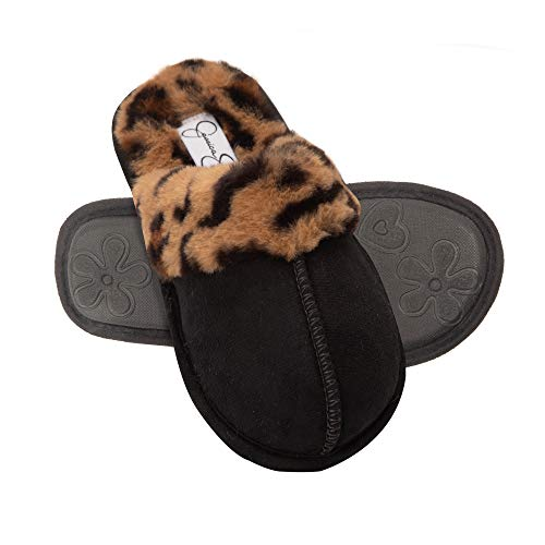 Jessica Simpson Girls Comfy Slippers - Cute Faux Fur Slip-On Shoes Memory Foam House Slipper (Leopard, Size Medium) (Slippers For The Beach)