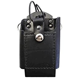 Boston Leather Firefighter\'s Radio Holder with D-Rings & Elastic Strap