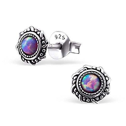 Small Round Blue Synthetic Opal Silver Earrings Vintage Antique Style Stering Silver 925 Post Studs (E23674) (Multi Lavender)