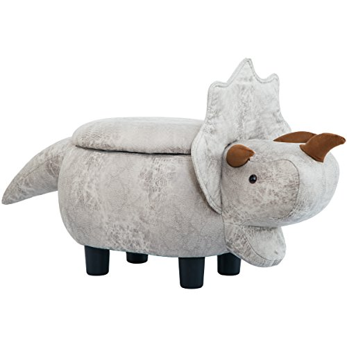 Merax WF187575EAA Gray Dinosours Storage Ottoman with Vivid Adorable Animal Shape,