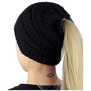 Odosalii Women Winter Trendy Knit Hat Stretch Bun Ponytail Beanie