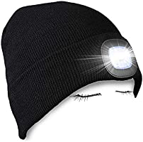 PRAVETTE LED Lighted Beanie Hat, USB Rechargeable Hands Free Hat with Light for Camping Fishing, Winter Warmer Gift for...