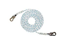 Vertical Lifeline Rope Assembly (5/8 inch) – ANSI Certified, 3-Strand Polyester, Steel Snap Hook Ends – for Safety Climbing Rope, Arborist Work, Rigging Lines – Several Lengths (25 feet – 600 feet)