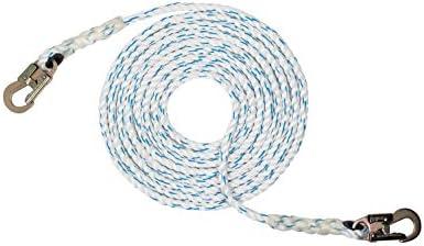 Pelicanロープ(5/8インチ) 3ストランドポリエステル複合垂直ライフラインロープ スチールスナップフックエンド付き (25フィート-600フィート)