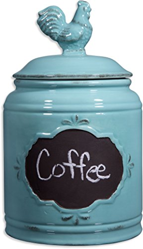(Ceramic Aqua Jar with Lid With Chalkboard With Rooser Finial Lid, Small Canister 62 Oz, Classic Vintage Design for Flour, Sugar, Cookies)