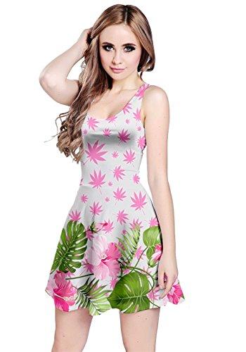 CowCow Dress Womens Leaves Cannabis Sleeveless Marihuana Plant XS Pink 5XL White Marijuana H1gqA7rwH