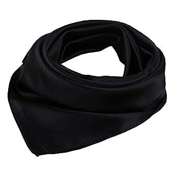Women's Solid Color Square Scarf Neckerchief (Black)