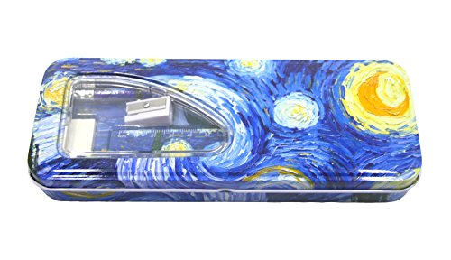 DaHo Tin Pencil Case with Pencils, Ruler, Eraser and Sharpener inside ( Starry Night)