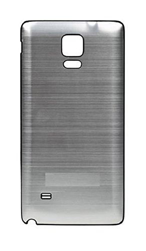 Black Edge Silver Brushed Metal Aluminum Replacement Back Housing Battery Door Ultra Thin Cover for Samsung Galaxy Note 4(2014 Release) ()
