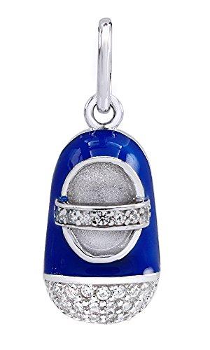 AFFY Jewelry Blue Enamel Baby Botties Mary Jane Shoes Pendant in 925 Sterling Silver