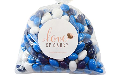 Love of Candy Bulk Candy - Royal Blue, Navy Blue & White Chocolate Almonds - 1lb (Chocolate Coated Almonds)