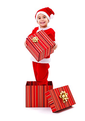 Christmas Santa Costume for Kids Boys Red Velvet with Santa Hat and Belt for Holiday Party A030B (Santa Jacket And Hat)